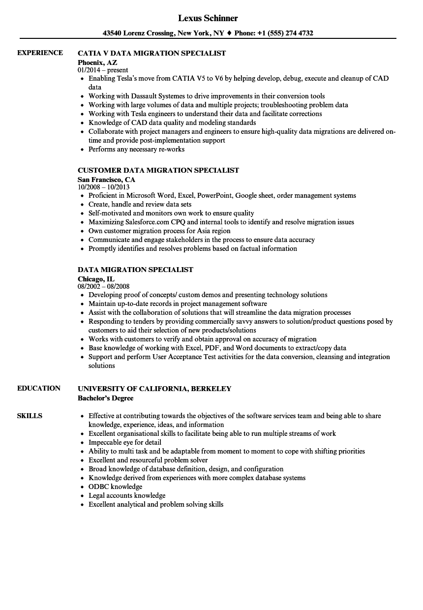 Sample Resume Data Migration - A Good Resume Example •