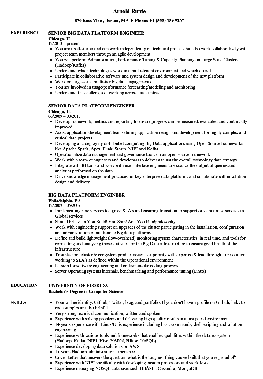 data platform engineer resume samples
