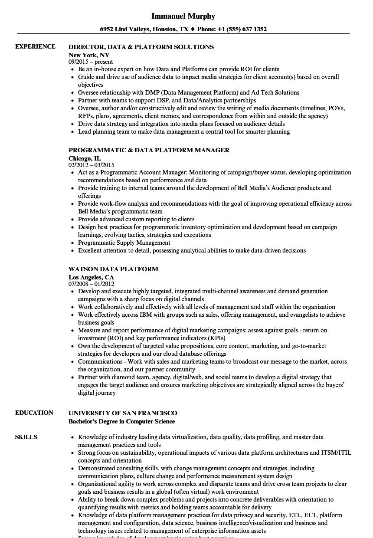 Data Platform Resume Samples | Velvet Jobs