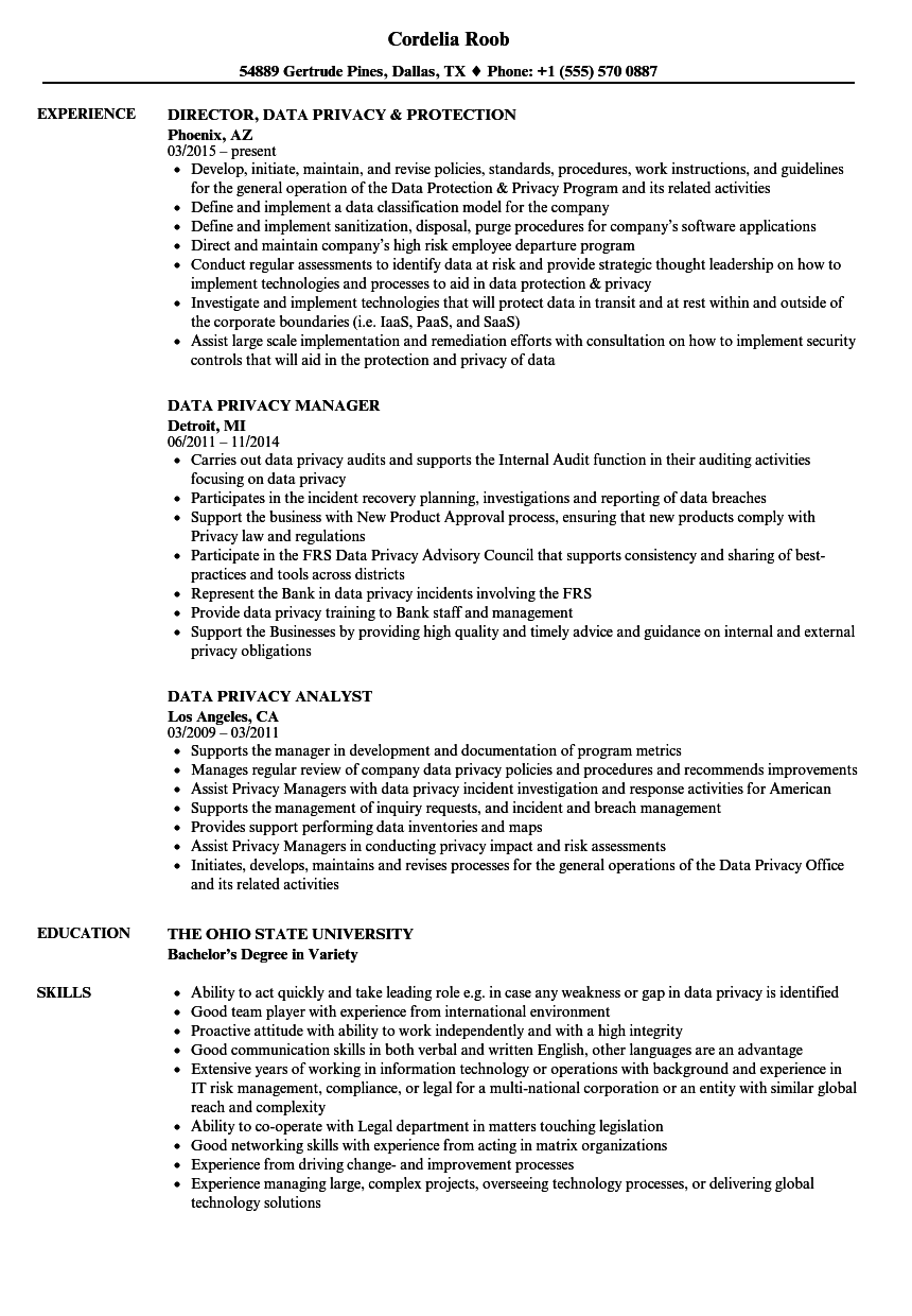 data privacy resume samples