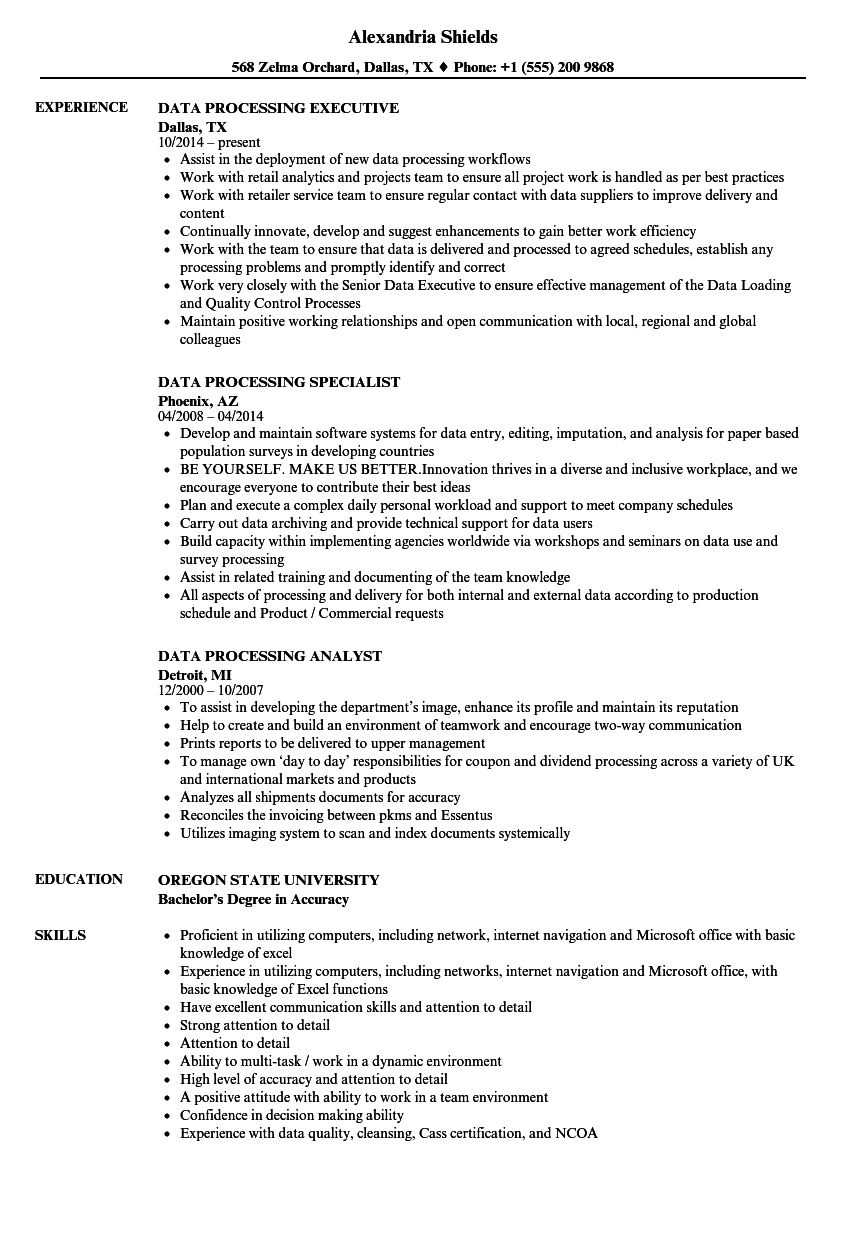 Data Processing Resume Samples | Velvet Jobs