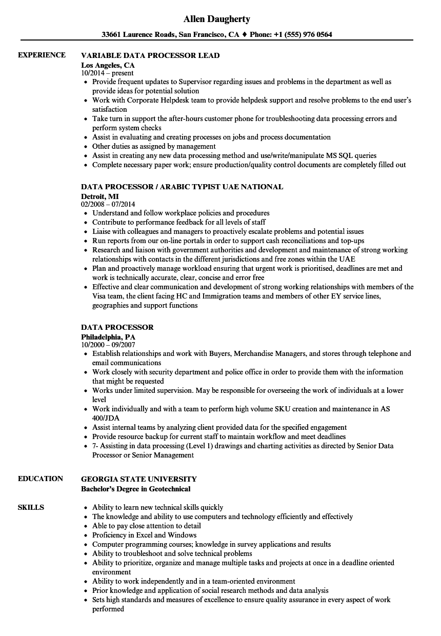 Data Processor Resume Samples | Velvet Jobs