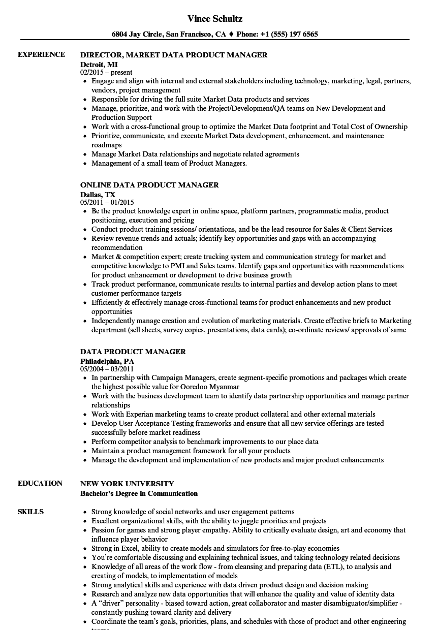 Related Job Titles. Trade Product Manager Resume Sample