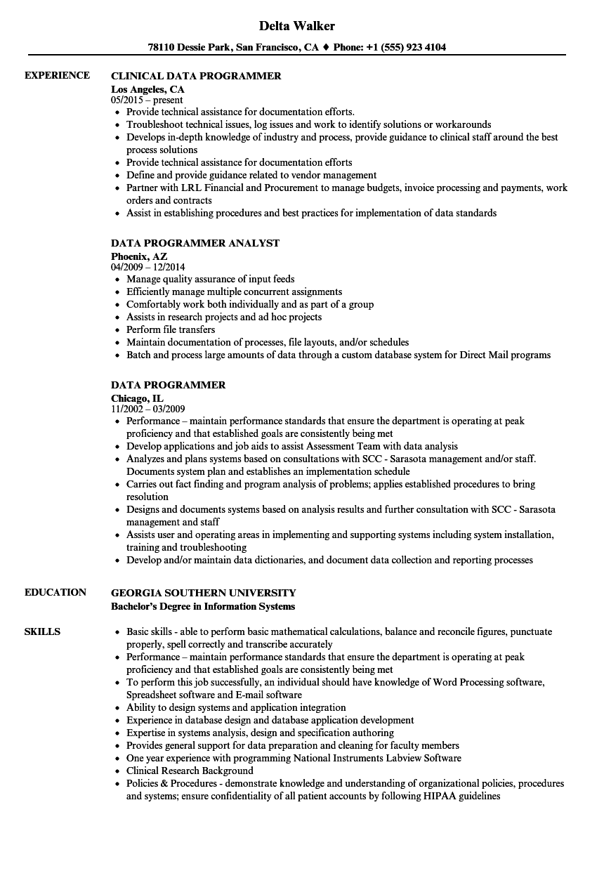 data resume data programmer resume samples velvet jobs - Data Science Resume Examples