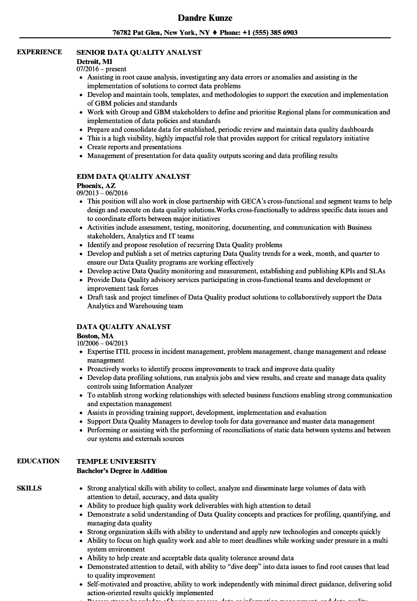 Data Quality Analyst Resume Samples Velvet Jobs