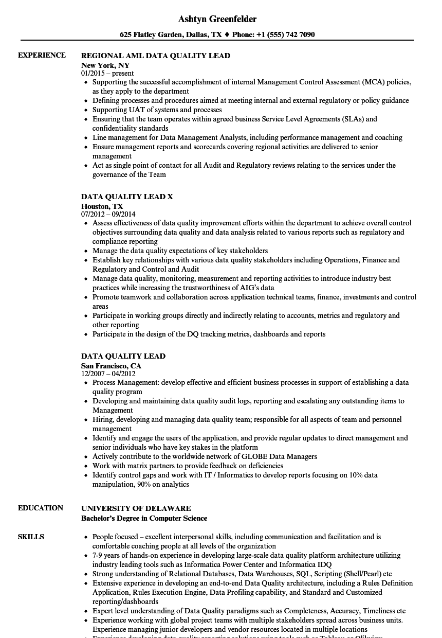 data quality lead resume samples