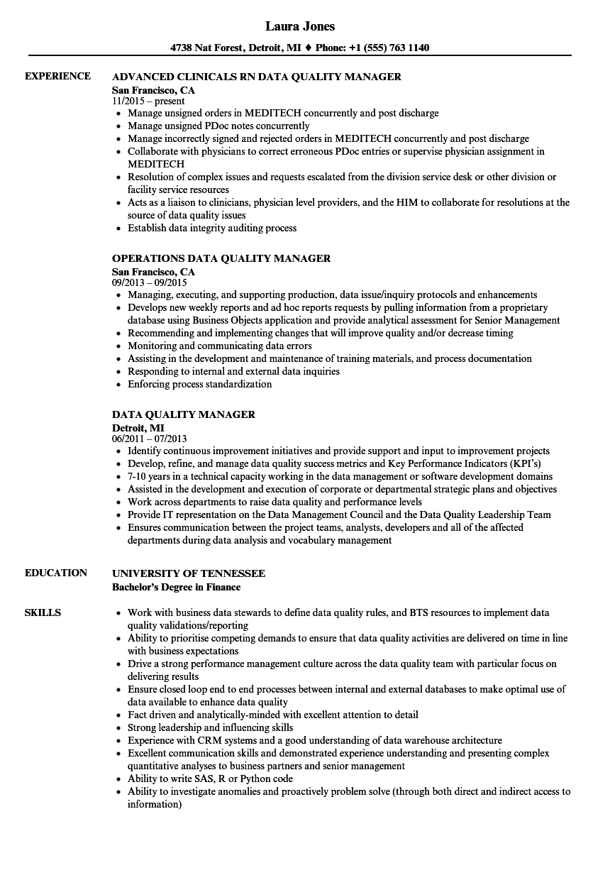 data quality manager resume samples velvet jobs
