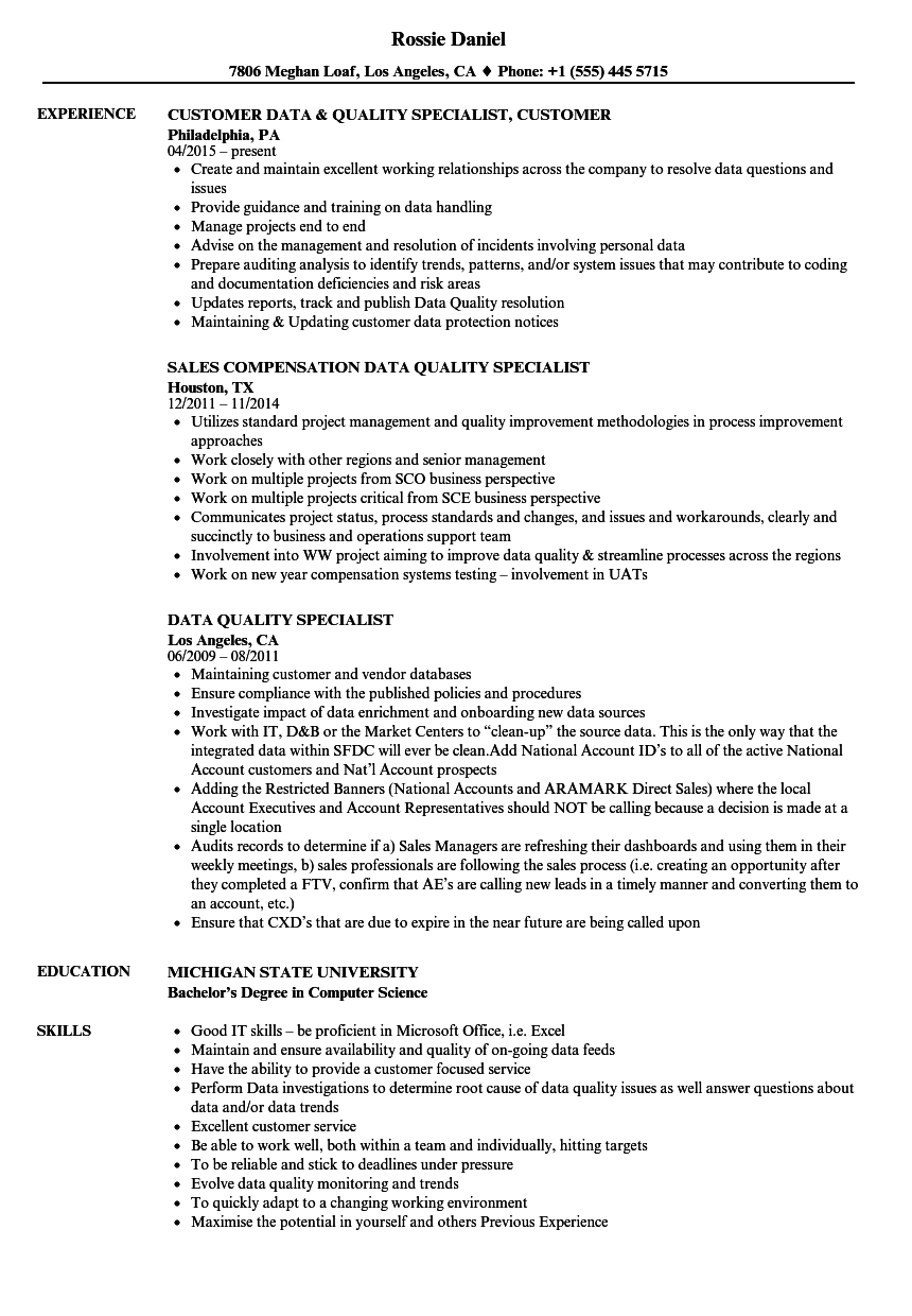 data quality specialist resume samples