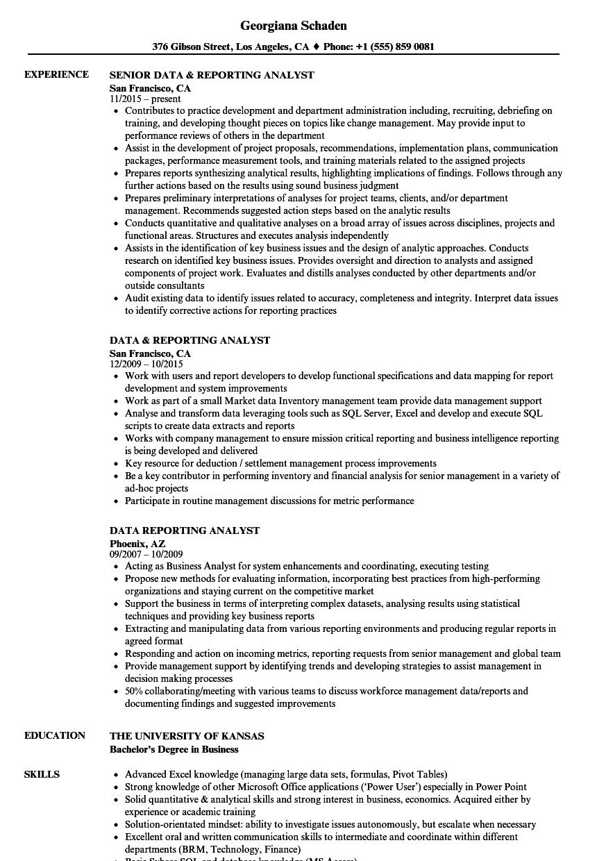 Data Reporting Analyst Resume Samples Velvet Jobs