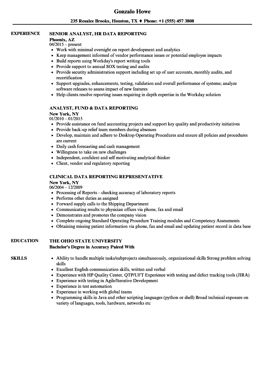 Data Reporting Resume Samples Velvet Jobs