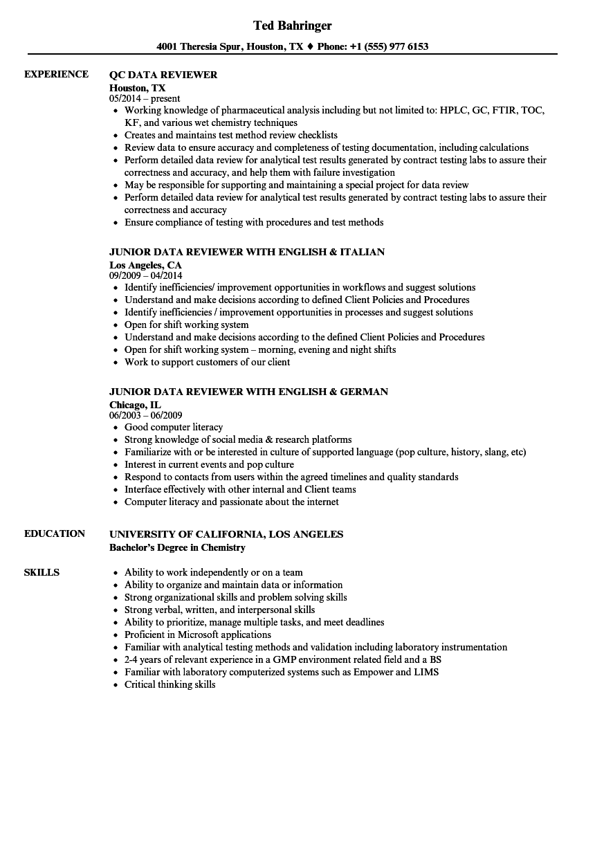 Download Data Reviewer Resume Sample As Image File  Resume Reviewer