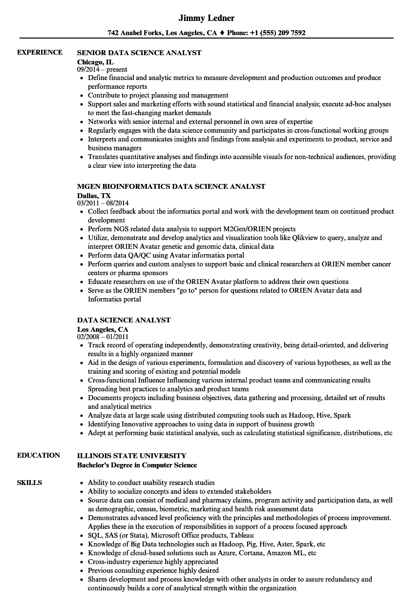 Data Science Analyst Resume Samples Velvet Jobs
