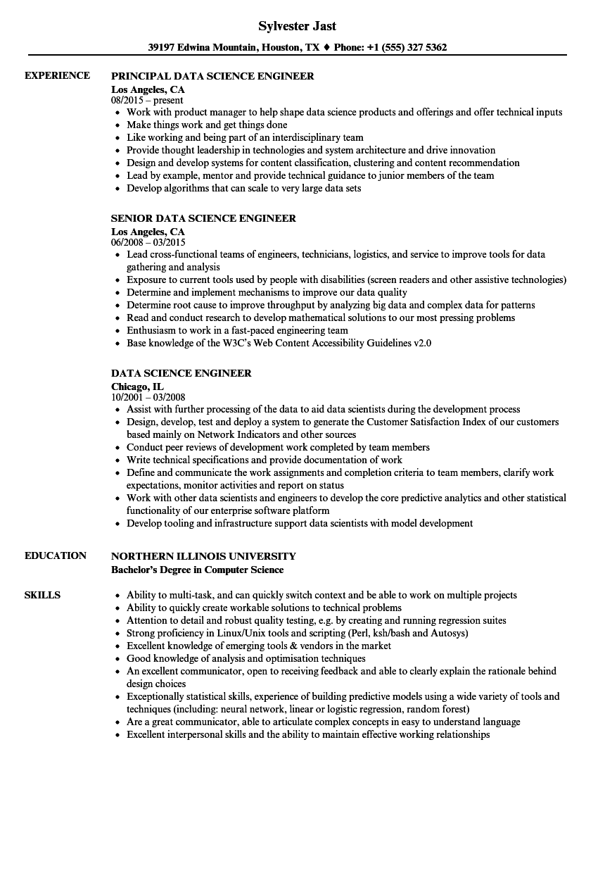 data science engineer resume samples