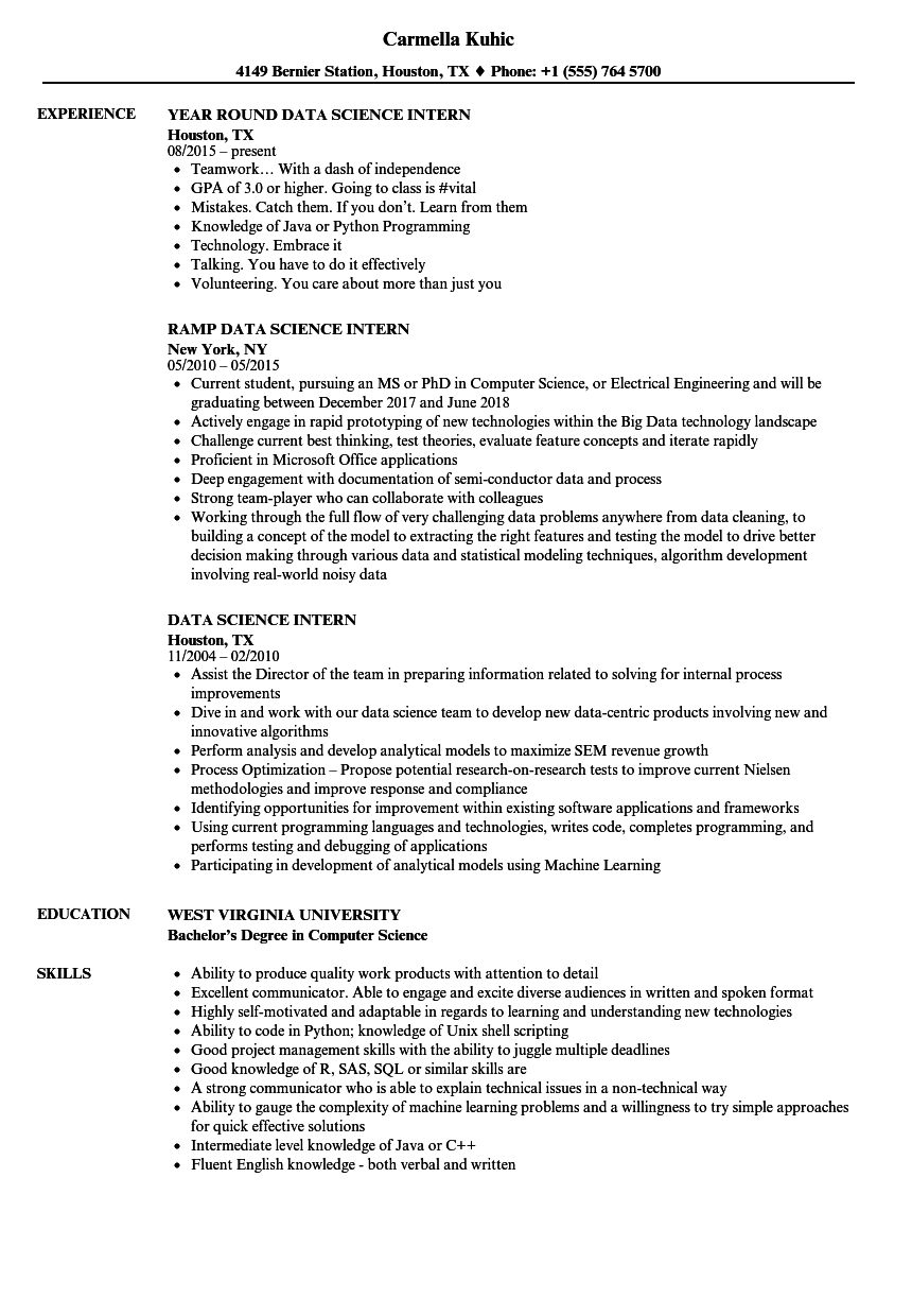 data science intern resume samples