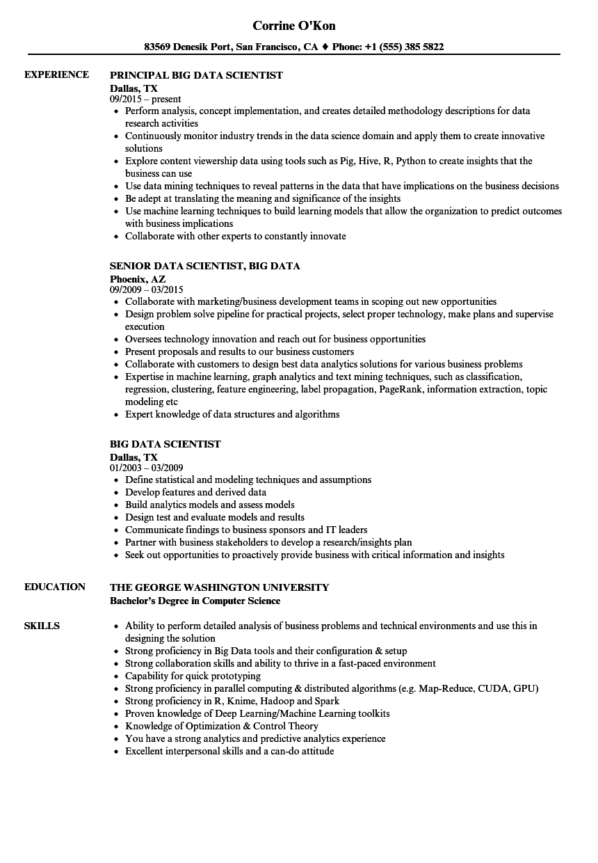 data scientist  big data resume samples