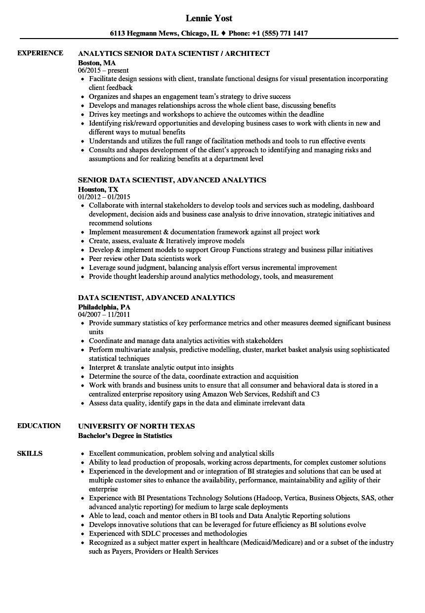 data scientist    data analytics resume samples