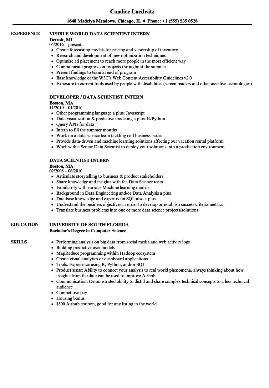 Download Data Scientist Intern Resume Sample As Image File