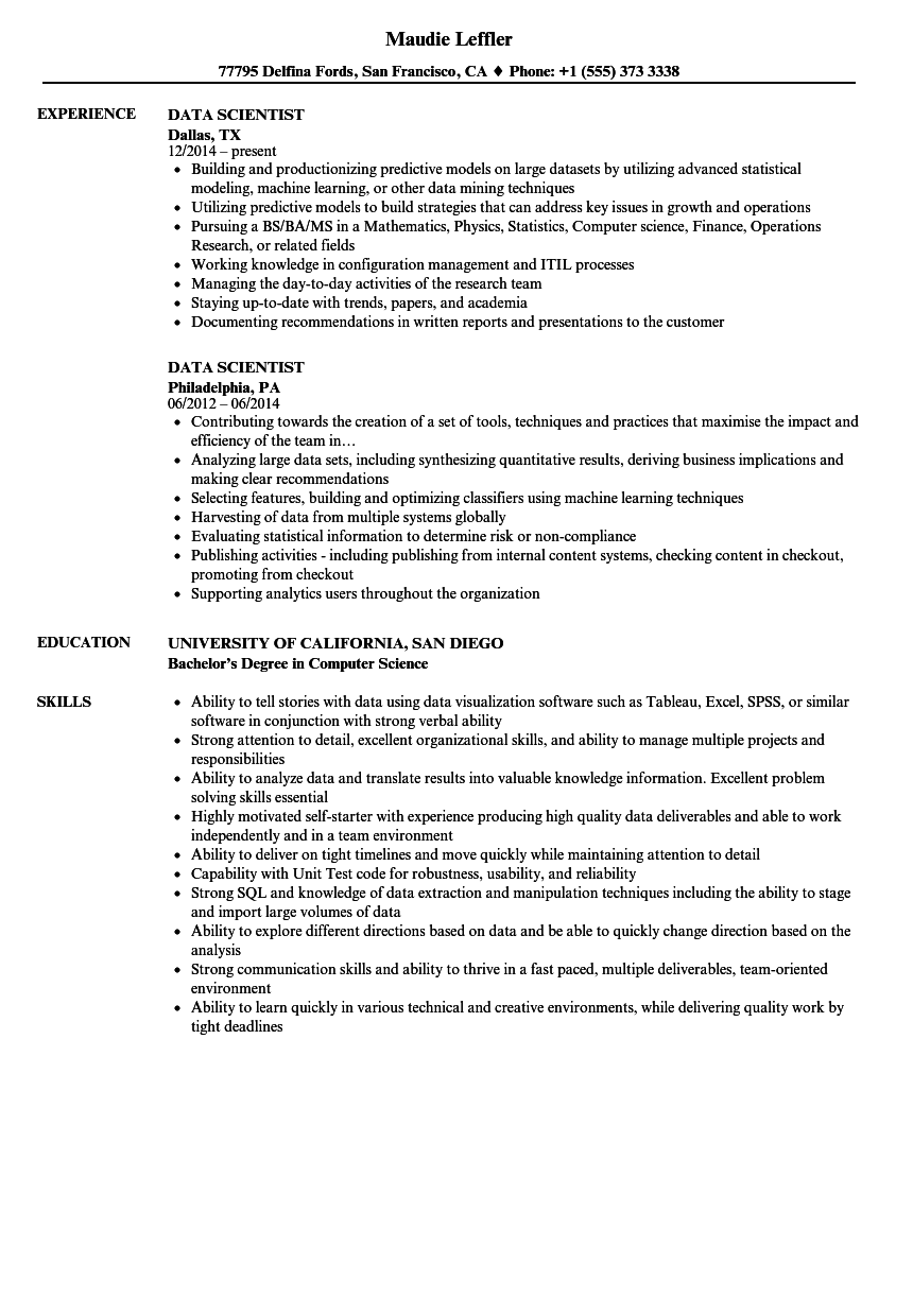 download data scientist resume sample as image file - Data Scientist Resume Sample