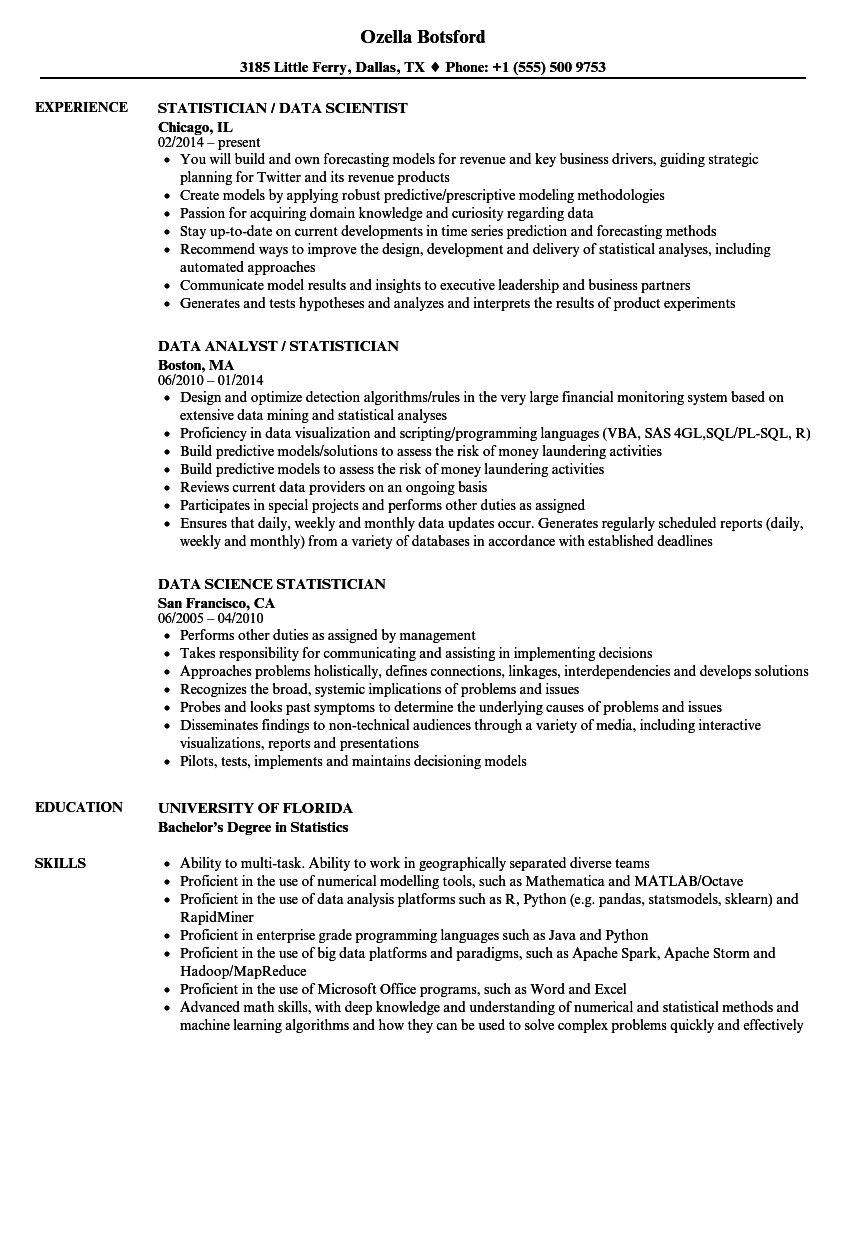 data statistician resume samples