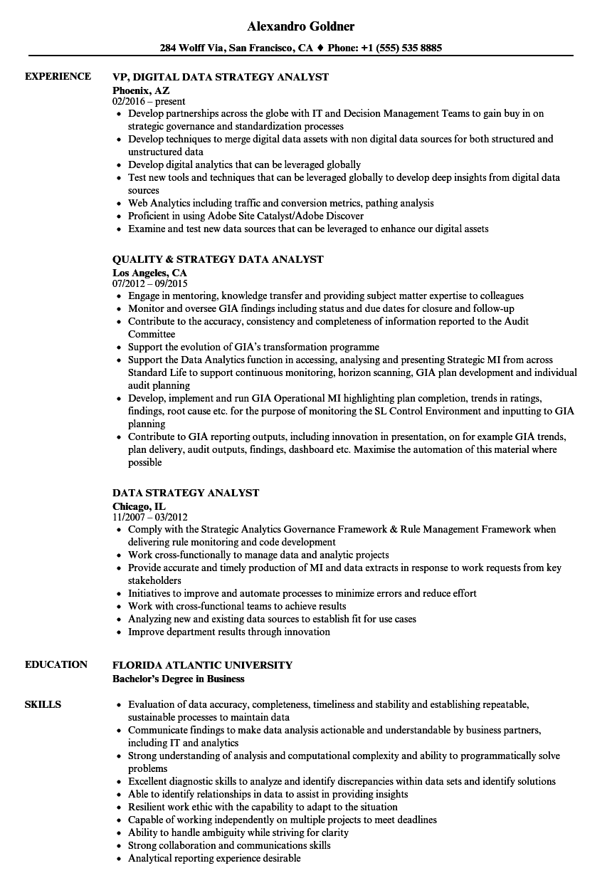data strategy analyst resume samples