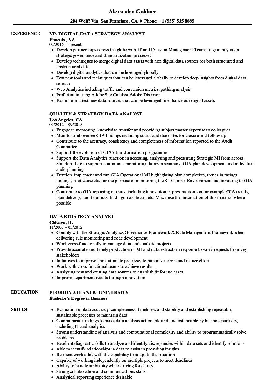 Data Strategy Analyst Resume Samples | Velvet Jobs
