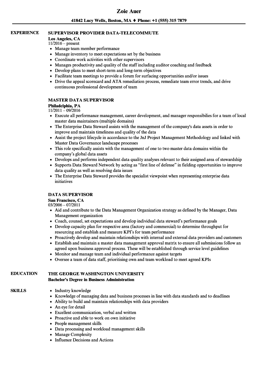 Data Supervisor Resume Samples | Velvet Jobs