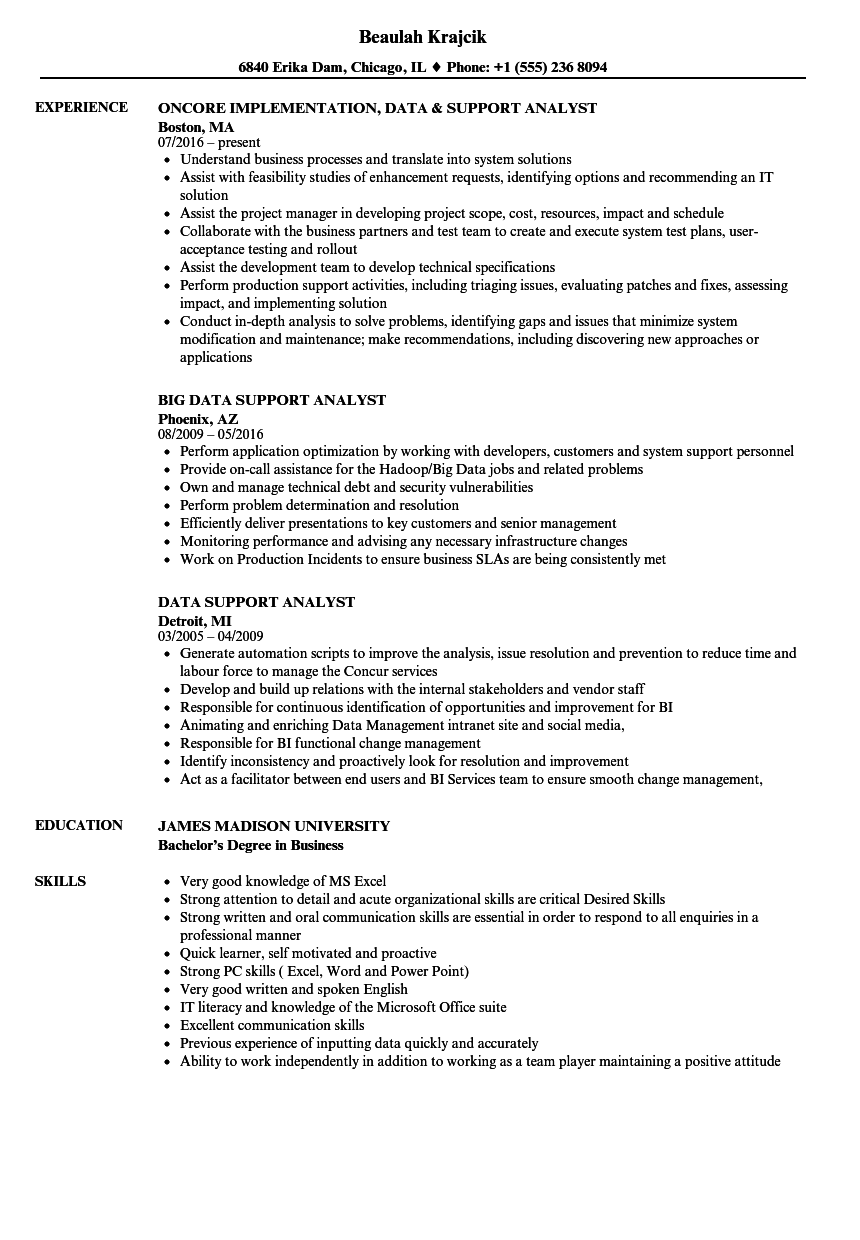 Data Support Analyst Resume Samples | Velvet Jobs