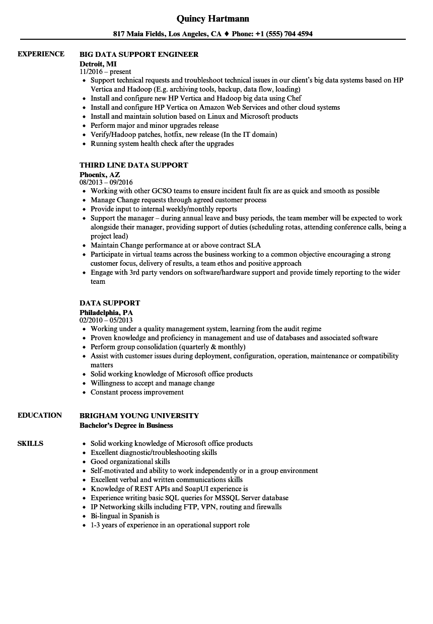 Data Support Resume Samples | Velvet Jobs