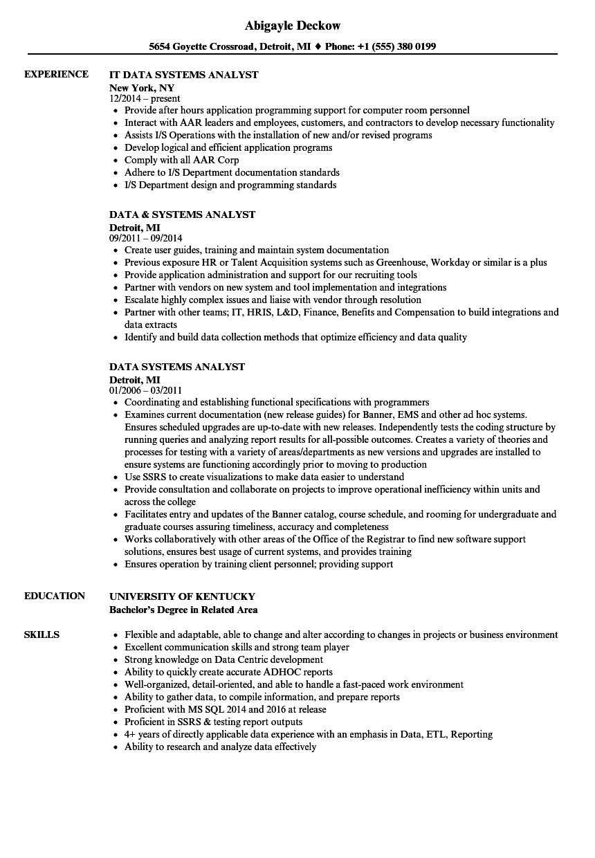 Download Data Systems Analyst Resume Sample As Image File