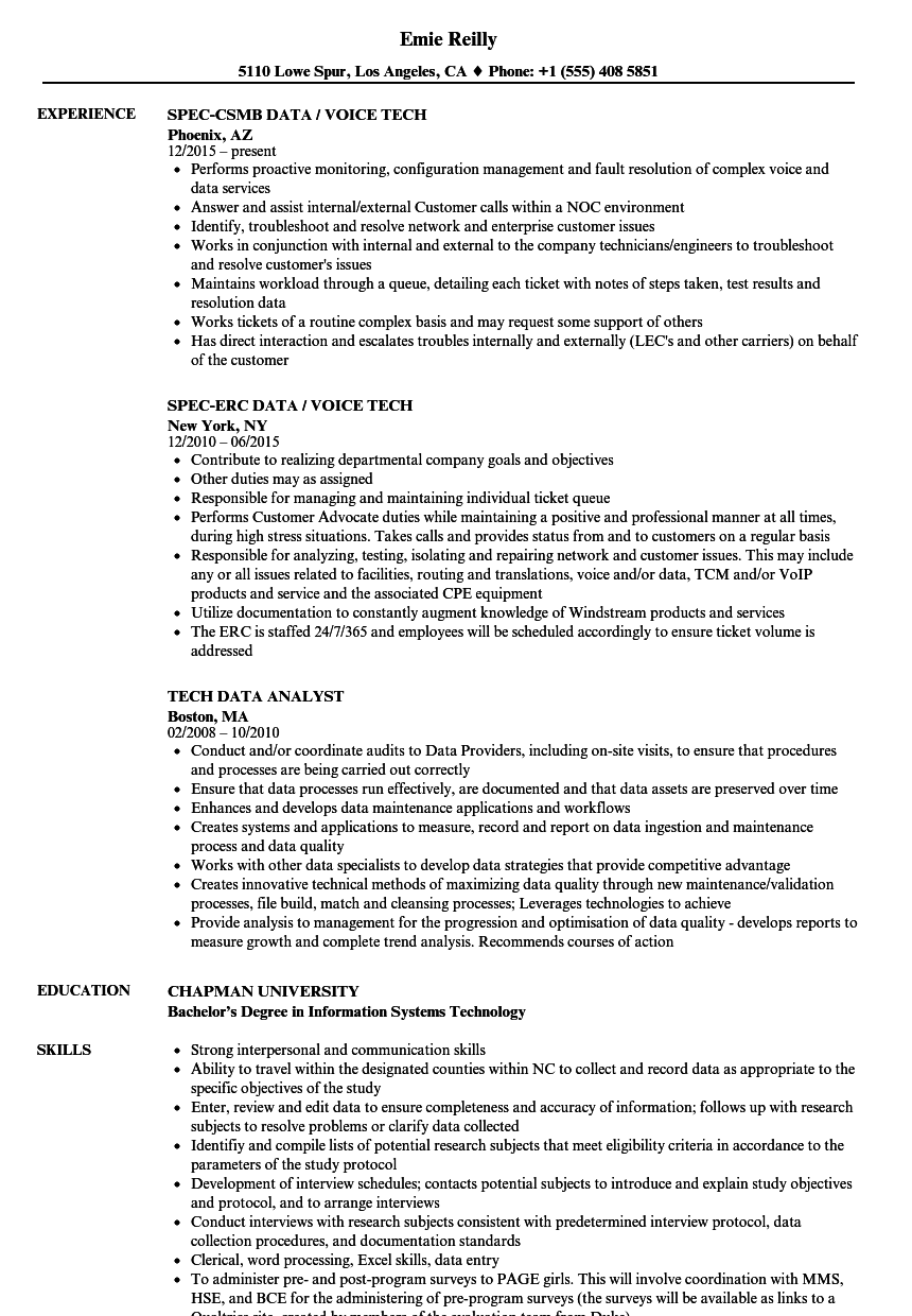 data tech resume samples