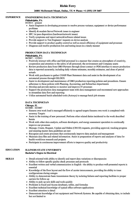 data technician resume samples