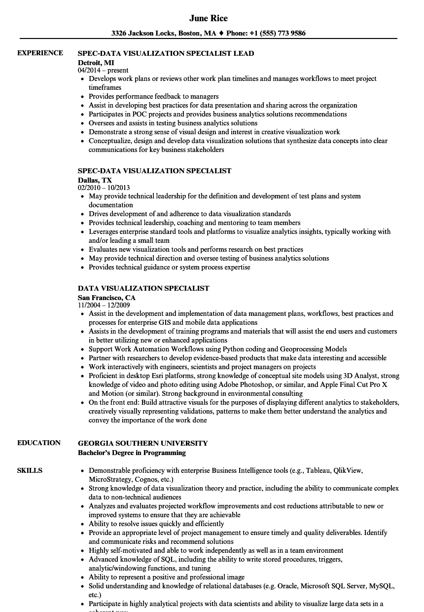 data visualization specialist resume samples