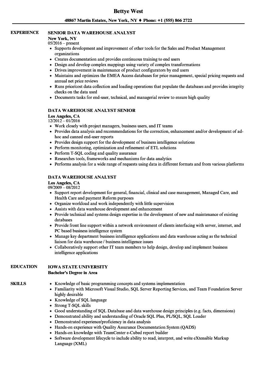 Data Warehouse Analyst Resume Samples | Velvet Jobs