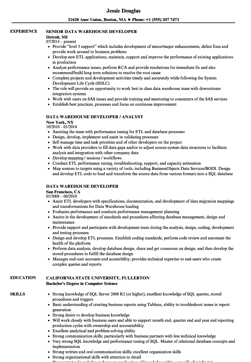 Data Warehouse Developer Resume Samples Velvet Jobs