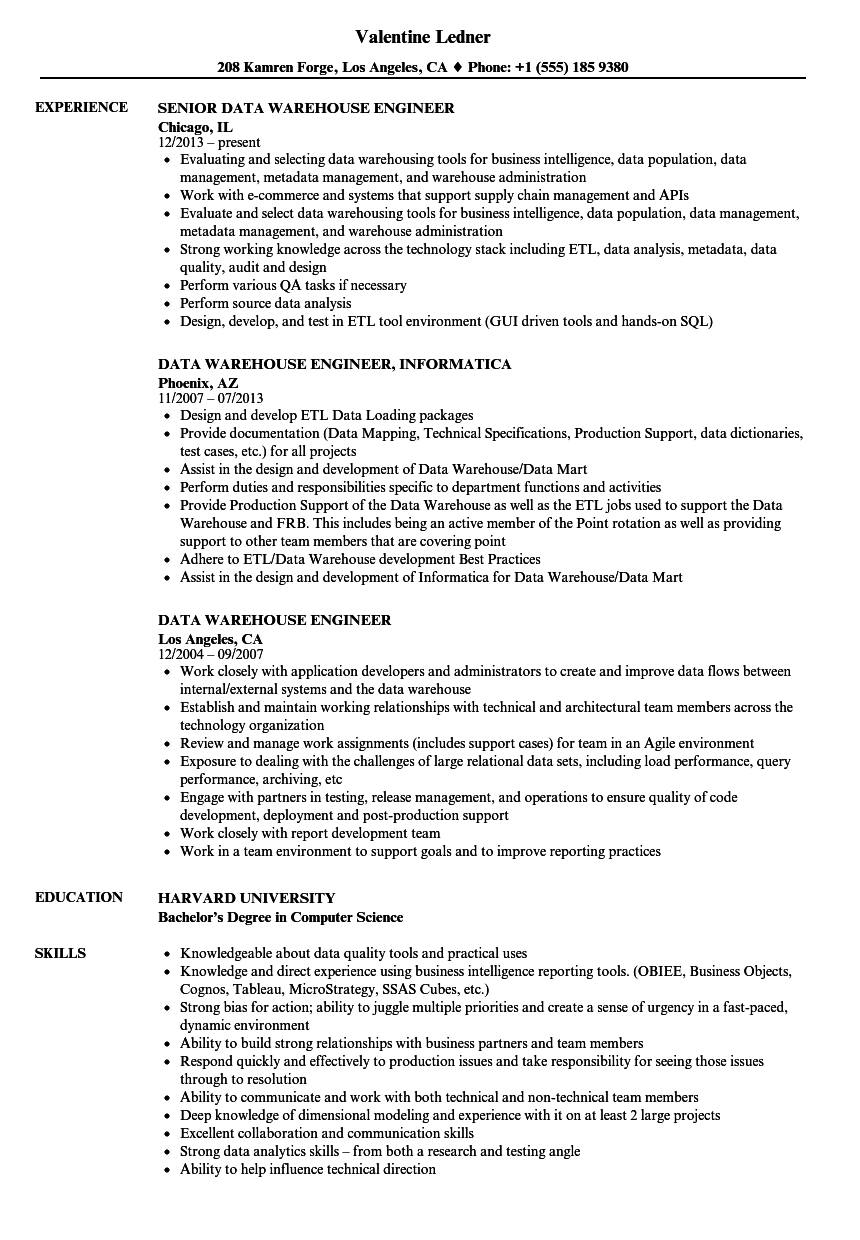 data warehouse engineer resume samples velvet jobs