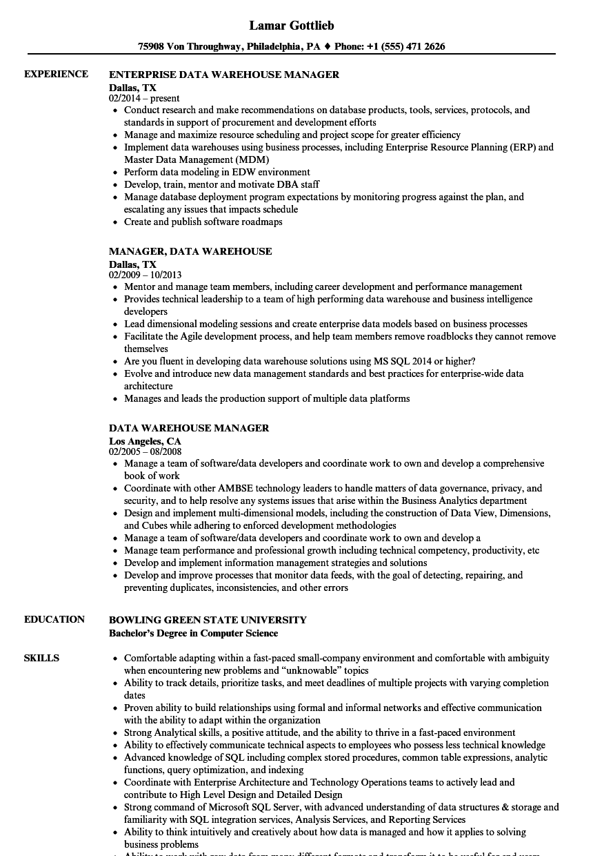 warehouse manager resume sample
