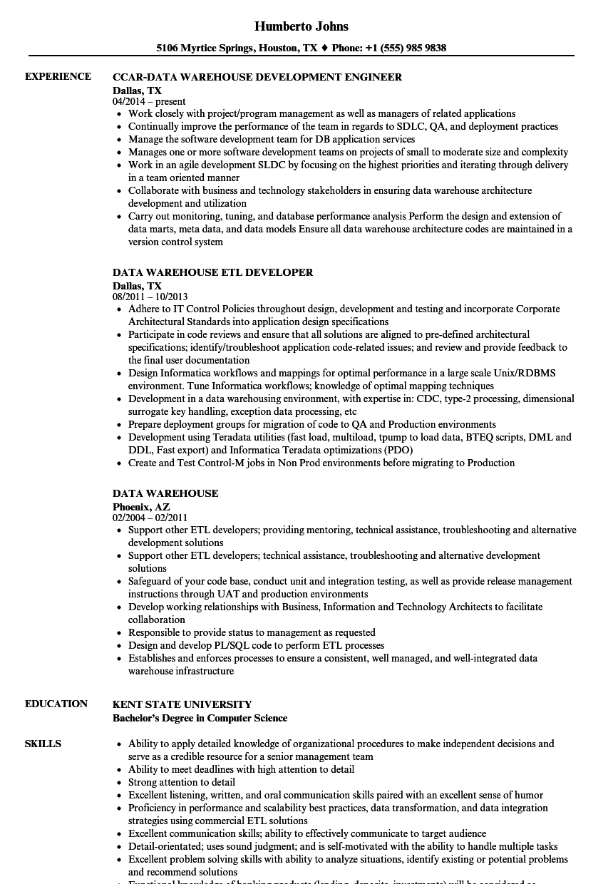 Data Warehouse Resume Samples | Velvet Jobs