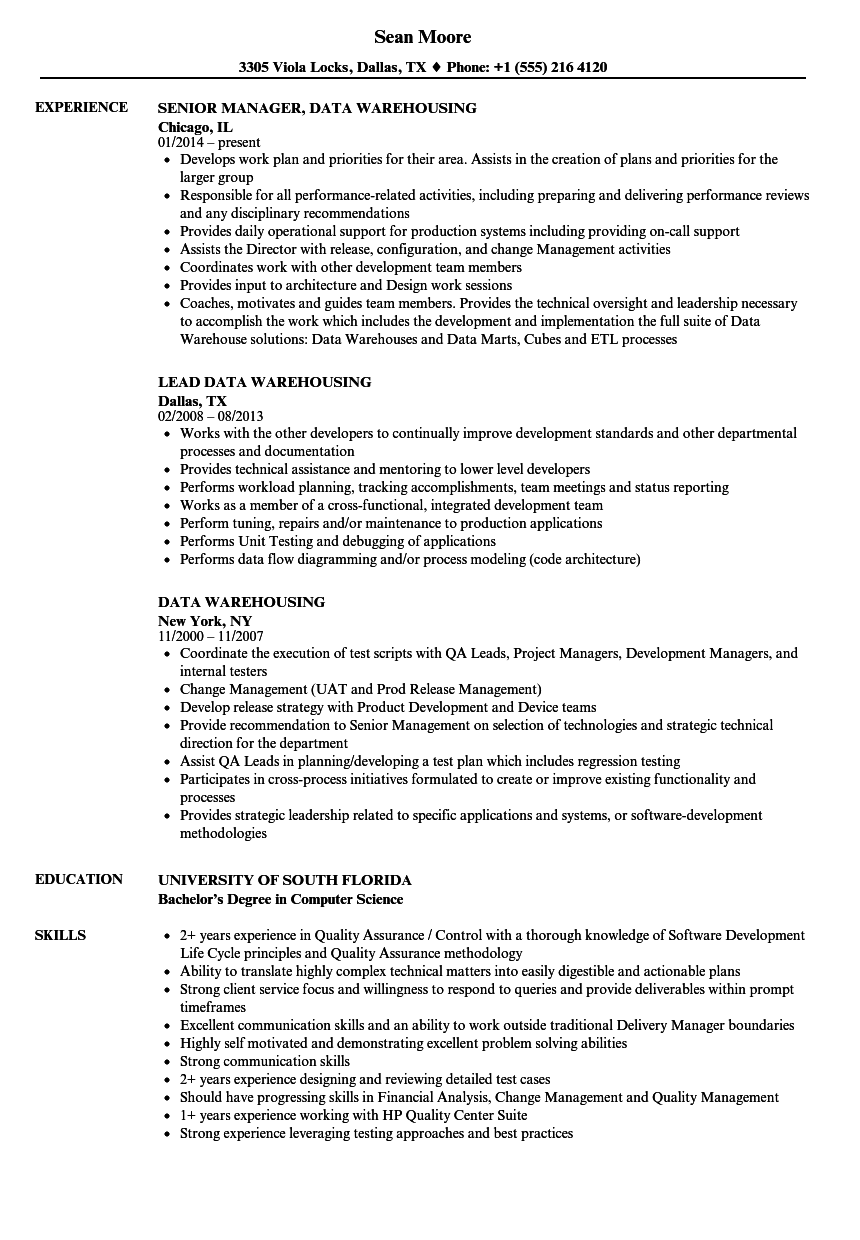 data warehousing resume samples