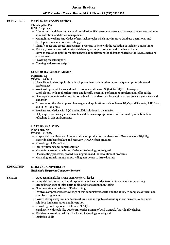 database admin resume samples
