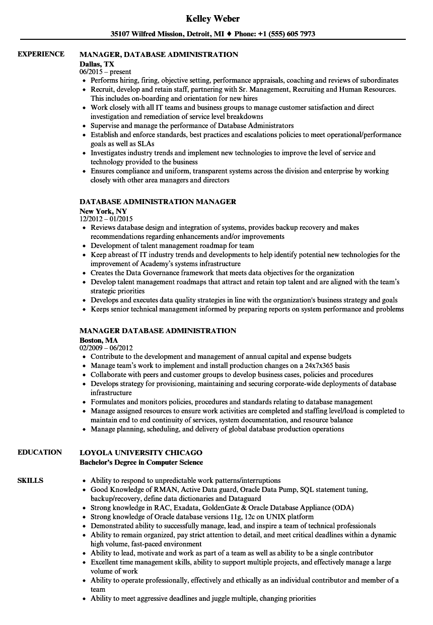 database administration resume samples