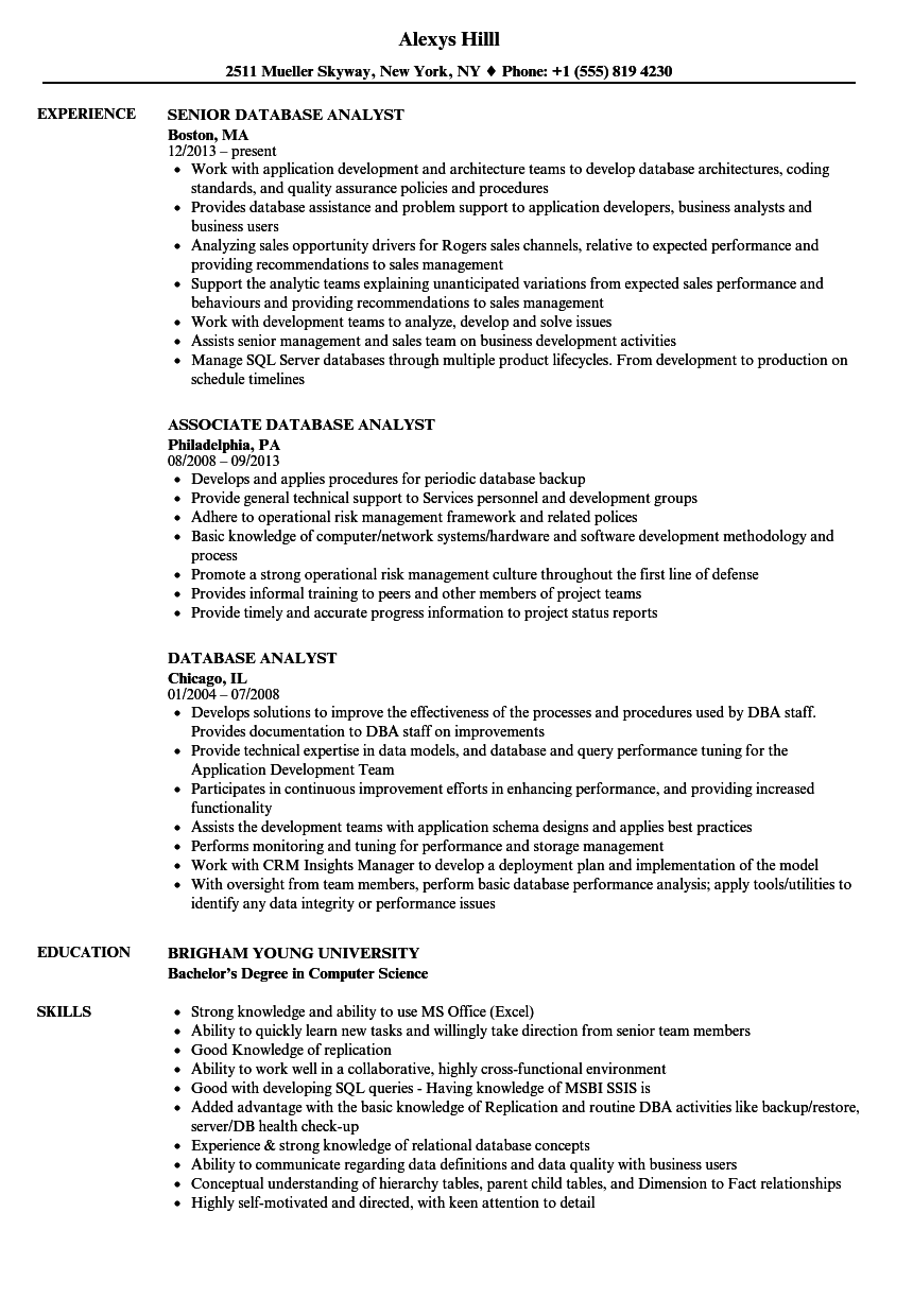 Download Database Analyst Resume Sample As Image File