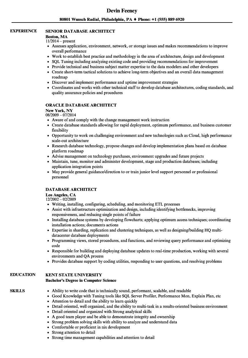 Database Architect Resume Samples | Velvet Jobs
