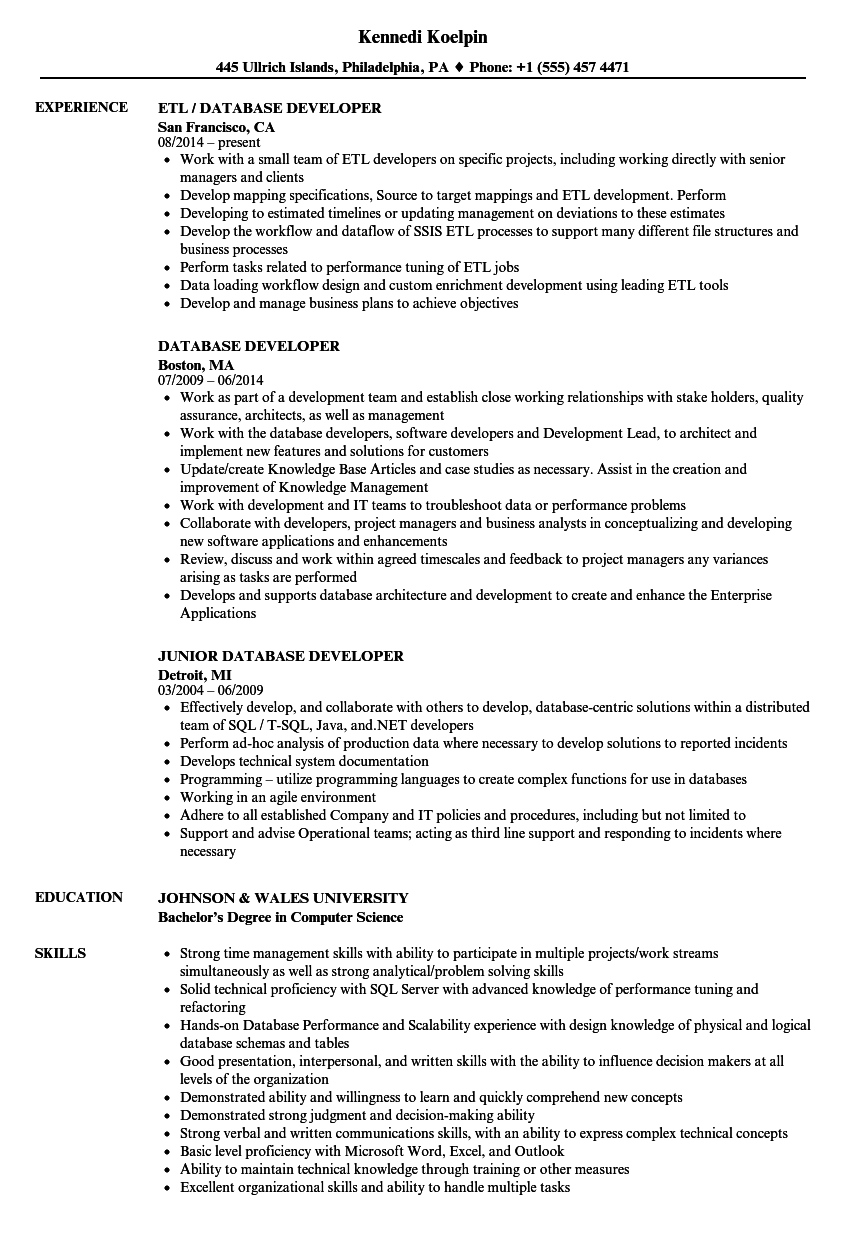 Velvet Jobs  Database Developer Resume