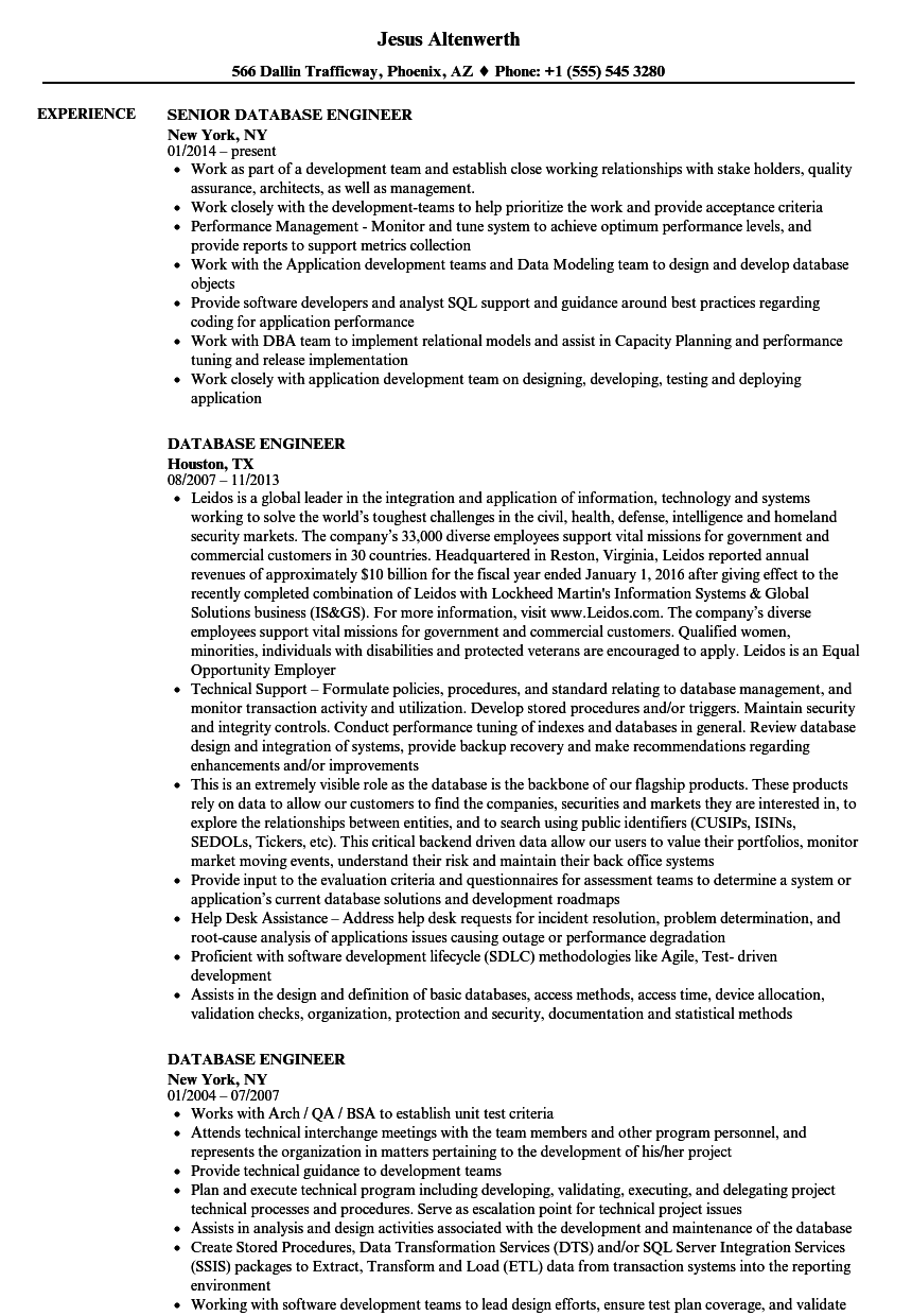 Database Engineer Resume Samples Velvet Jobs