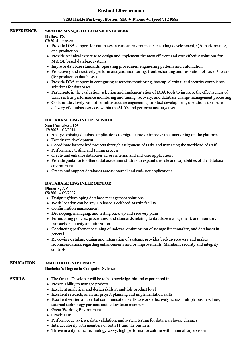 Database Engineer Senior Resume Samples Velvet Jobs
