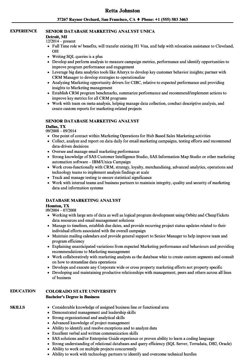 download database marketing analyst resume sample as image file