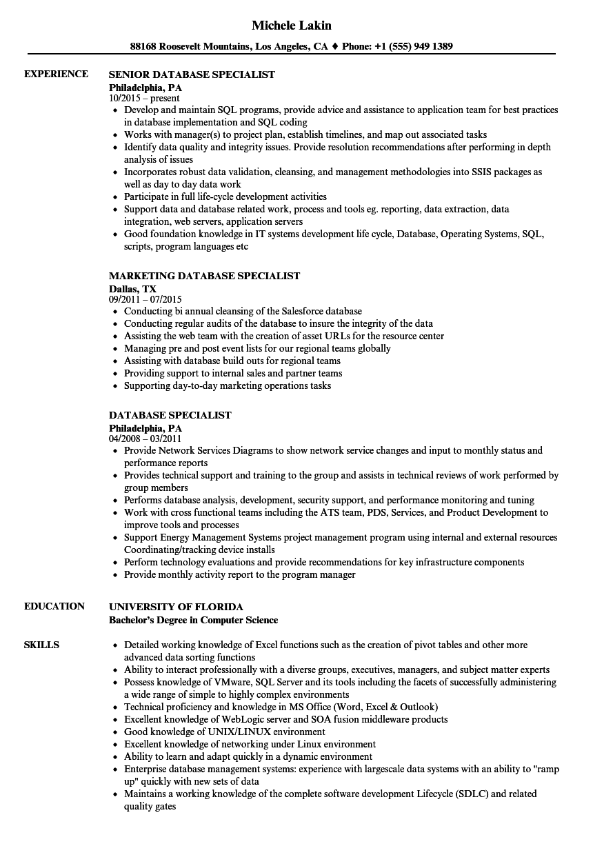database specialist resume samples