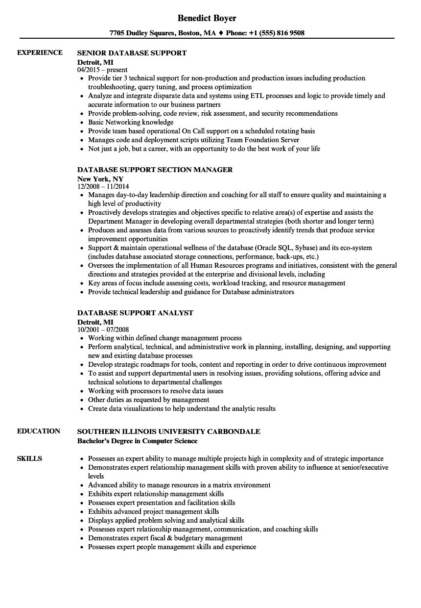 database support resume samples velvet jobs