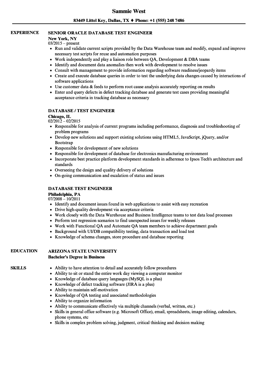 database test engineer resume samples