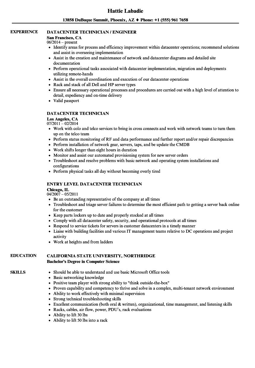 download datacenter technician resume sample as image file - Data Center Technician Resume